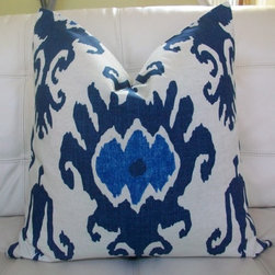NEW Decorative Designer Pillow Cover 20X20 by elegantouch - This lovely blue and white Ikat pattern has exploded in popularity in the past few years and shows no signs of going out of style. It's a wonderful and exotic addition to your pattern palette, and the crisp blue and white color palette keeps things classic.