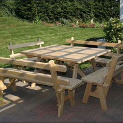 Fifthroom - Treated Pine Wide Picnic Table w/4 Backed Benches - Our Treated Pine Wide Picnic Table w/Backed Benches combines the best of outdoor dining with indoor convenience. Designed to seat people on all four sides, it also has separate benches that slide in and out with ease. The table top is roomy enough to hold an abundance of food without crowding. Hand-crafted from solid, sturdy treated pine, this splendid table will be the center of your outdoor parties for many years to come.