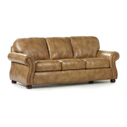 Randall Allan - Barrington Sofa - Order up! This sofa is just the ticket to satisfy your hunger for quality, comfort and style. It features traditional rolled arms lined with nailhead trim, sweet chocolate bun feet and toasty leather. Check, please!