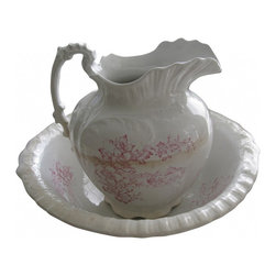 """Victorian Chamber Set - The design is on both sides of the pitcher. Ornate embossing on the body of the pitcher, base, rim, and handle...just gorgeous! The pitcher is water tight free from chips or cracks. It does have a dark line of crazing in the middle of the body and light crazing at the base. Measures approx 11"""" tall x 9.75"""" wide handle to spout."""