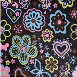"""Concord Global - Alisa Kids Enchanted Garden Black Concord Global 3'4"""" x 5' Rug (2463) - Alisa collection is a soft heat-set rug made to suit any child's room and decor."""