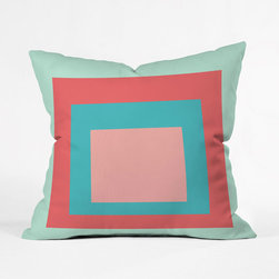 Inside the Color Block Throw Pillow Cover - Fun and bright, this throw pillow cover alternates warm and cool colors to absolute perfection. Constructed of woven polyester and custom made for each order, its geometric design makes it a natural star.