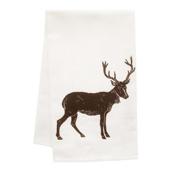 "artgoodies - Organic Big Buck Block Print Tea Towel - This high quality 100% certified organic cotton tea towel was custom made just for artgoodies! Hand printed with an original block print design by Lisa Price it measures 20""x28"" and has a convenient corner loop for hanging. Nice and absorbent for drying dishes, looks great when company is over, and makes a great housewarming gift!"