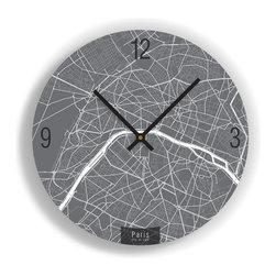 "ArtnWalls - PARIS MAP ART Wall Clock - Unique Contemporary Art Wall clock - 11"" Diameter - Abstract Paris, France, map art - Features the streets of the city of light."