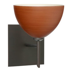 Besa Lighting - Brella Bronze One-Light Halogen Wall Sconce with Cherry Glass - - Cherry is a soft off-white cased glass that is handcrafted with spiraling strokes of dark red, emphasizing the subtle brush pattern. The reddish rippled design is subdued and harmonious. Unlit, it appears as simply a textured surface like wood grain, but when lit the texture comes alive. The smooth satin finish on the clear outer layer is a result of an extensive etching process, with the texture of the subtle brushing. This blown glass is handcrafted by a skilled artisan, utilizing century-old techniques passed down from generation to generation.  - Bulbs Included  - Shade Ht (In): 4  - Shade Wd/Dia (In): 6  - Canopy/Fitter Ht (In): 5  - Canopy/Fitter Dia/Wd (In): 5  - Title XXIV compliant  - Primary Metal Composition: Steel  - Shade Material: Glass  - NOTICE: Due to the artistic nature of art glass, each piece is uniquely beautiful and may all differ slightly if ordering in multiples. Some glass decors may have a different appearance when illuminated. Many of our glasses are handmade and will have variances in their decors. Color, patterning, air bubbles and vibrancy of the d�cor may also appear differently when the fixture is lit and unlit. Besa Lighting - 1SW-4679CH-BR-SQ