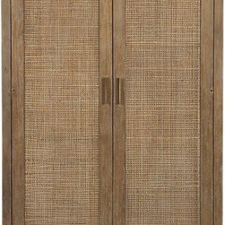 Blake Grey Wash 2-Door Cabinet | Crate&Barrel - This Asian-inspired armoire will add a bit of tropical zen to your busy life. Ironically, you may choose to hide all of your modern electronics inside, though it would be great for storing clothing in the bedroom or barware and linens in the dining room.