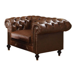 ACME Furniture - Acme Shantoria Bonded Leather Chair in Dark Brown - The Shantoria upholstery collection reflects decorative accent rolled arms, tufted seat back, and elegant style of nailhead trim. This sofa, chair, and ottoman will bring back that classic style to your living room environment.