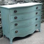 Custom Painted Dressers - French Blue with Dark Antique Wax - Sold. Similar available in our current inventory of antique furniture. Email us at kingstonkrafts@gmail.com to receive photos of similar antique inventory. Or call 401-516-7711 to schedule a visit in our Providence, RI studio.