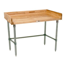 John Boos - Work Table w Coved Riser Rear (48 in. x 24 in - Choose Size and Base Material: 48 in. x 24 in. - Stainless SteelAdjustable bullet feet and bracing. 4 in. high coved riser rear. Both ends galvanized base and bracing. Varnique sides. National Sanitation Foundation certified. Warranty: One year against manufacturing defects. Made from maple. Made in USA. Minimal assembly required. Top thickness: 1.75 in.. Galvanized Base Specification Sheet. Stainless Steel Base Specification Sheet