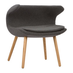 Laguna Arm Chair in Charcoal - Have a quiet conversation in this chair inspired by iconic mid-20th century design. Upholstered with our super-soft cashmere blend fabric and accentuated with tapered wooden legs, this small chair provides an intimate space for those who want to share more with family and friends.