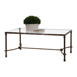Uttermost - Uttermost Warring Iron Coffee Table - Warring Iron Coffee Table by Uttermost Inspired By Ancient Horse Bridles, This Forged Iron Coffee Table Is A Blending Of Rings And Curves Finished In Rustic Bronze Patina. The Top Is Made Of Clear, Tempered Glass.