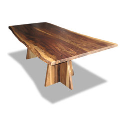 Slab Table with Luca Base - Rustic forms meet contemporary methods.  Available in any size or finish, subject to availability.  Please call 323 938 8706 to inquire.