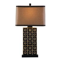 Bassett Mirror - Lakota Black and Tan Ceramic Table Lamp - Lakota Black and Tan Ceramic Table Lamp by Bassett Mirror