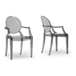 Wholesale Interiors - Sebastian Transparent Smoke Gray Polycarbonate Ghost Chair - Arm Chair - This listing is for 1 chair**
