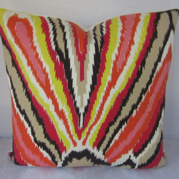 Trina Turk Pillow Cover - Peacock Print Punch - Schumacher Fabric - Ikat Fabric - Trina Turk versatile indoor outdoor fabric. Modern ikat print in shades of red, orange, yellow, black and white. Perfect for interior and exterior spaces.