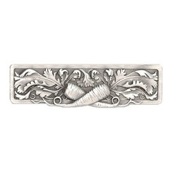 "Inviting Home - Leafy Carrot Pull (antique pewter) - Hand-cast Leafy Carrot Pull in antique pewter finish; 5""W x 1-3/8""H; Product Specification: Made in the USA. Fine-art foundry hand-pours and hand finished hardware knobs and pulls using Old World methods. Lifetime guaranteed against flaws in craftsmanship. Exceptional clarity of details and depth of relief. All knobs and pulls are hand cast from solid fine pewter or solid bronze. The term antique refers to special methods of treating metal so there is contrast between relief and recessed areas. Knobs and Pulls are lacquered to protect the finish."