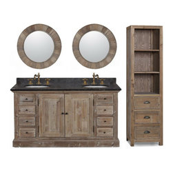 None - 60-inch Marble Top Double Sink Rustic Bathroom Vanity with Matching Daul Wall Mi - Display the simplicity of country living in your decor with this rustic double sink bathroom vanity set with wall mirrors. Finished in a natural oak color,this folksy vanity comes with a linen cabinet to provide plentiful storage space.