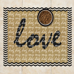 Sniff It Out Designer Pet Mats - Love My Dog Burlap Pet Food Mat, 26 X 20.5 - Premium-quality clear vinyl mats uniquely designed to resemble beautiful art painted directly onto your floor. The smoothness of the vinyl allows for easy cleanup and lays perfectly flat. Sniff It Out Pet Mats make great gifts and will be a conversation piece that your friends and family won't stop talking about. Made in the USA.