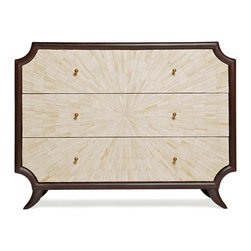 Kathy Kuo Home - Radiant Burst Hollywood Regency Cream Bone Inlay Brown Dresser - There are pieces of great design and then there are pieces of art.  This three drawer chest of drawers counts as both, inlaid with a burst formation of natural bone framed by espresso stained wood.  Deco, Asian, and Hollywood Regency fans will all find this an exceptional, covetable piece.