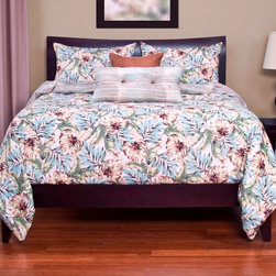 SIS Covers - SIS Covers Panama Beach Duvet Set - 6 Piece King Duvet Set - 5 Piece Twin Duvet Set Duvet 67x88, 1 Std Sham 26x20, 1 16x16 dec pillow, 1 26x14 dec pillow. 6 Piece Full Duvet Set Duvet 86x88, 2 Std Shams 26x20, 1 16x16 dec pillow, 1 26x14 dec pillow. 6 Piece Queen Duvet Set Duvet 94x98, 2 Qn Shams 30x20, 1 16x16 dec pillow, 1 26x14 dec pillow. 6 Piece California King Duvet Set Duvet 104x100, 2 Kg Shams 36x20, 1 16x16 dec pillow, 1 26x14 dec pillow6 Piece King Duvet Set Duvet 104x98, 2 Kg Shams 36x20, 1 16x16 dec pillow, 1 26x14 dec pillow. Fabric Content 1 100 Polyester, Fabric Content 2 100 Polyester, Fabric Content 3 100 Polyester. Guarantee Workmanship and materials for the life of the product. SIScovers cannot be responsible for normal fabric wear, sun damage, or damage caused by misuse. Care instructions Machine Wash. Features Reversible Duvet and Shams.