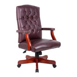 BOSS Chair - Adjustable Executive Chair in Burgundy Leathe - With an executive chair as inviting as this one, who can possibly resist the urge to work?! Splendidly designed and skillfully crafted wood chair boasts a rich cherry finish and coordinating burgundy leather upholstery. Brass nails and button-tufted details distinguish this traditional chair that exudes sophisticated charm, while lending superior comfort. Classic traditional button tufted styling. Elegant traditional Cherry finish on all wood components. Hand applied brass nails Burgundy (BY) or Black (BK) Italian Leather. Matching guest chair model (B969). Cushion color: Burgundy. Base/wood: Cherry. Seat size: 24 in. W x 19 in. D. Seat height: 19 in. -23 in. H. Arm height: 27 in. -30.5 in. H. Overall dimension: 27 in. W x 28 in. D x 43-46.5 in. H. Weight capacity: 250 lbs