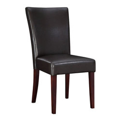 "Powell Furniture - Powell Furniture Brown Bonded Leather Parsons Chair - Powell Furniture - Dining Chairs - 749833 - The Brown Leather Parsons Chair has a straight back with exposed ""light merlot"" finished tapered, square legs. Seat and back are upholstered in brown bonded leather. Seat height is 20-1/2""."
