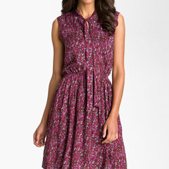 Taylor Dresses Tie Neck Fit & Flare Dress | Nordstrom