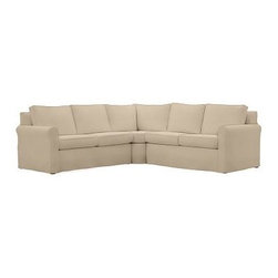 """Cameron Roll Slipcovered 3-Piece L-Shaped Wedge Sectional, Polyester Wrap Cushio - Crafted by our master upholsterers in North Carolina, our Cameron Collection offers superb quality at an unparalleled price. Our sectional is built with eco-friendly materials and plush seat cushions for maximum comfort. 109"""" w x 109"""" d x 36"""" d x 35"""" h Polyester-wrapped cushions have a neat and tailored look. Proudly made in America, view video. For shipping and return information, click on the shipping info tab. When making your selection, see the Special Order fabrics. below. Please call 1.888.779.5176 to place your order for additional fabrics."""