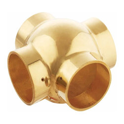 Renovators Supply - Tubing Connectors Pol Brass Ball Fitting Cross Connector Fit 2 | 23054 - Ball Fittings: Create a stylish railing system with our wide selection of ball fittings and railing connectors. This cross connector provides a ball fitting mount look to your brass railing. Made of 100% solid brass this railing connector has a polished finish which requires some maintenance to keep a bright polished look. Sold individually, fits tubing size 2 inch diameter.