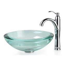 Kraus - Kraus Clear 34mm edge Glass Vessel Sink and Riviera Faucet Chrome - *Add a touch of elegance to your bathroom with a glass sink combo from Kraus