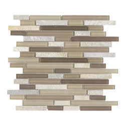 Vetro Italia Bolzano Stone and Glass Linear Mosaic Tiles, 10 Square Feet - Bolzano random strip mosaic includes a nice warm mix of different brown glass, and warm and cool colored stone tiles.