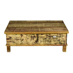 "Sierra Living Concepts - Rustic Reclaimed Wood 46"" Mellow Yellow Storage Trunk Chest - If you are building a rustic and relaxed interior design, add our Mellow Yellow Standing Trunk Chest to the living room, bedroom, or study."