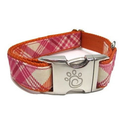 """chief furry officer - Designer Fabric Dog Collar - Sunset Beach, Small - cfo proudly presents """"sunset beach"""". 100% cotton fabric features a creamy background with raspberry and pumpkins check print. This hip selection is perfect for spring."""