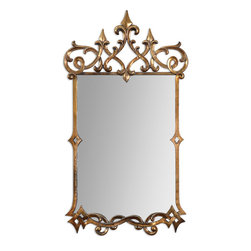 Uttermost - Mirandela Gold Mirror - Long live the Queen! Reflections of your good taste are evident in this hand-forged, metal frame mirror. The light gray glaze gives the glass a sense of old-world styling and the ornate, antiqued gold frame looks regal and impressive.