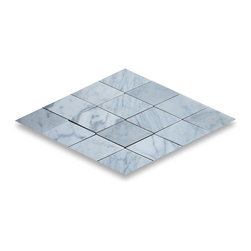 "Stone Center Corp - Carrara Marble Rhomboid Diamond Tile 2 1/2 x 5 Polished - Premium Carrara white marble diamond tile 2 1/2"" x 5"" (from point to point length)"