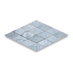 "Stone Center Corp - Carrara Marble Rhomboid Diamond Tile 2 1/2 x 5 Polished - Premium Carrara White Marble diamond tile 2 1/2x5"" (from point to point length); 3/8"" thickness; Polished finish"
