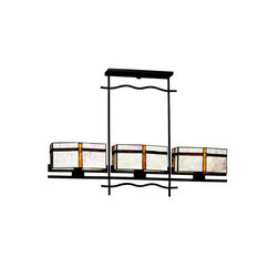 Tacoma Collection Chandelier Linear - Perfect for a lodge out west or a sophisticated east coast loft, the multifaceted Tacoma Lighting Collection complements a variety of interior styles. Its simple transitional design is characterized by a warm Olde Bronze finish, bold straight lines with wavy accents and stylish Stone and Art Glass that adds a hint of color for interest. This 3 light Island Linear chandelier is 44 inches in length, 7 inches in width, has a body height of 17 inches and an overall height of 30 inches. It comes with 89 inches of extra lead wire and uses 100W max bulbs. For additional 12 inch stems order the 2999OZ. Art Glass and Tiffany shades are natural materials - colors, patterns and textures will vary from piece to piece.
