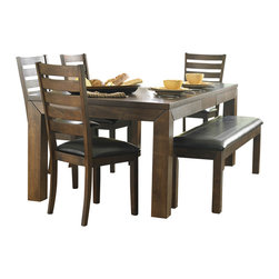 "Homelegance - Homelegance Eagleville 82 Inch Butterfly Leaf Dining Table in Brown - Your dining area will become a comfortable and exquisite gathering place when you add this durable and stunning Eagleville collection. The versatile dining height table and counter height table in birch veneers feature butterfly leaf for convenient extra surface space, while substantial block table legs stand prominently to provide extra structural reinforcement. Chairs, 60"" bench, and server are proportionally scaled to round up this offering."