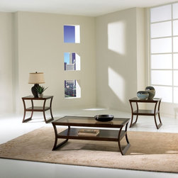 Standard Furniture - Standard Furniture Utopia 3 Piece Coffee Table Set in Brown Cherry - Utopia is inspired by the contemporary designs of American metropolitan lifestyle. Clean confident lines give the flexibility of creating a simple yet sophisticated look. Quality veneers over wood products and select solids are used throughout. Group may contain some plastic parts. Dark brown cherry color finish. Surfaces clean easily with a soft cloth.