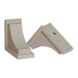 Mayne Inc. - Nantucket Decorative Brackets Clay (2pk) - Complete the look of your Nantucket window box with a pair of decorative supports.  The curved brackets are the perfect finishing touch to your installation. Made from high quality polyethylene offering a beautiful finishing touch with a classic look. Designed specifically for use with the Nantucket window boxes (model #'s 4829, 4831, 4831, & 4832).  Decorative brackets attach easily the existing wall mount brackets that come with the Nantucket window boxes. Includes 2 decorative brackets and 4 mounting screws. 15-year limited warranty.