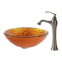 Kraus - Kraus Blaze Glass Vessel Sink and Ventus Faucet Brushed Nickel - *Inspired by the crisp texture and warm colors of autumn foliage, the Blaze sink shines with an energetic orange-gold hue. Pair it with the soft curves of the classically inspired Ventus faucet in brushed nickel for a hint of vintage flair