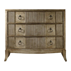 Hooker Furniture - Faux Crocodile Chest - Go wild with this trio of drawers. Faux croc leather and reeded front transports your bedroom into a kingdom. Faux croc wallpaper is tucked away. Open yourself up for its exotic surprise.