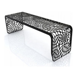Arktura - Arktura | Coral Bench - Design by Arktura.The cellular, organic patterns of the Coral Bench extend the full length of the form, providing a visually compelling experience. Inspired by nature, these algorithmically generated patterns are laser cut into radius bent steel which is then powder coated in one of several modern finishes. The Coral Bench is a highly versatile piece which works equally well in an indoor or outdoor environment. Available in eight modern colors.The Coral Bench is produced with wind and solar power, as are all products from Arktura. Their approach to sustainability begins with a commitment to make quality products that last for a lifetime; and continues into their manufacturing process. Many Arktura products are made of recycled steel and aluminum, which in some pieces contain up to 100% recycled content. And all metallic pieces produce zero landfill waste from manufacture.