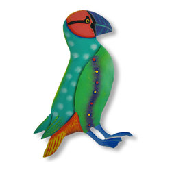 Zeckos - Brightly Colored Teal / Green Puffin Wall Hanging Hand Painted - This beautiful metal wall hanging features a brightly painted teal, green, pink and purple puffin, with an orange and yellow tail. It measures 10 inches tall, 7 inches long and about an inch thick. It'll add a splash of color to any room, and makes a great gift for bird lovers.