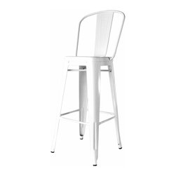 Kathy Kuo Home - Bouchon French Industrial White With Back Cafe Bar Stool - Set of 4 - Pull up a seat at the counter and enjoy the utility and style of a classic piece of industrial metal seating. Constructed of glossy steel, this piece captures the utility and flexible use that makes loft style so smart.  Used indoors or out, this iconic bar stool just keeps on working.