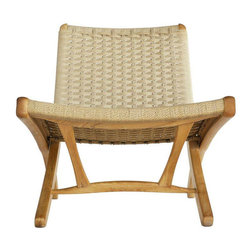 Mid-Century Japanese Teak and Rope Lounge Chair - $900 Est. Retail - $400 on Cha -