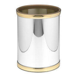 Kraftware - Mylar 10 in. Round Wastebasket in Polished Chrome and Brass - Made in USA. 10 in. Dia. x 12 in. H (1.5 lbs.)Kraftware's Mylars bring the look of metal at vinyl prices. great value, great looks, and great entertaining sum up the Mylar collection.