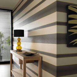 Graham & Brown - Verve Stripe Wallpaper - Indulge yourself with the stunning simplicity of a classic bold stripe modern with an irridescent metallic overlay and a contemporary color palette - hang vertically or horizontally for a stylish look. Try this brown and gold wallpaper for a bold look.
