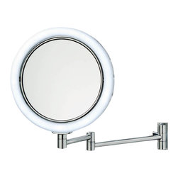 WS Bath Collections - Smile 702 Illuminated Magnifying Mirror - Smile 702 Illuminated Magnifying Makeup Mirror with White Cable, 7x Magnification with 1x Magnification on Reverse Side, with LED Daylight White Light