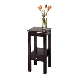 "Winsome Wood - Winsome Wood Linea Accent Table X-41729 - Featuring the sleek and stylish Linea design, this telephone stand has a shelf perfect for stacking phone books, and a small drawer to keep a notepad and pen conveniently tucked away.  Shelf size 13.30"" x 9.70"".  Clearance between table apron and shelf is 12.40"".  Combination of solid and composite wood in Dark Espresso finish.  Assembly Required"